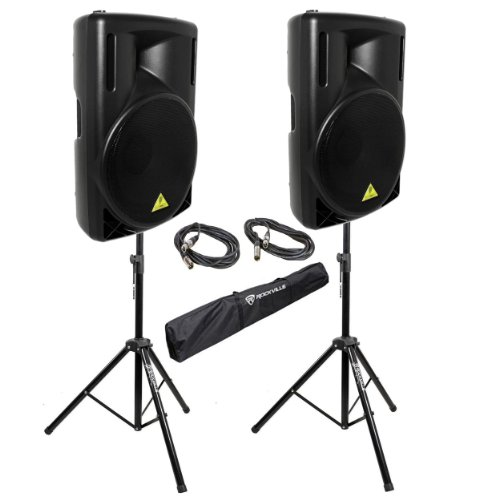 """Behringer B215D B215 15"""" PA Powered Speakers w/ Stands and XLR Cables"""