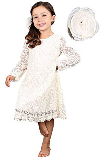 Bow Dream Bow Dream Spitze Mädchenkleid aus Vintage 1-10Jahre Elfenbein mit Haarfarbe 3 Jahre