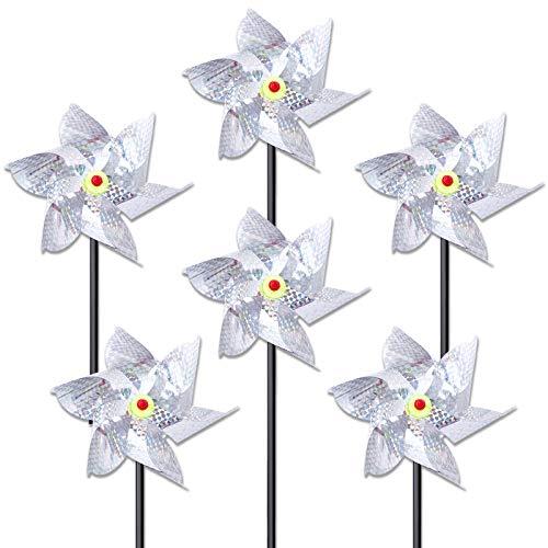 Ulikey 6 Piezas Repelente de Aves, Repelente de Pájaros, Control Reflectante de Pájaros, Molinos de Viento Reflectivos Anti-Palomas para proteger jardín, Granja (Silver)