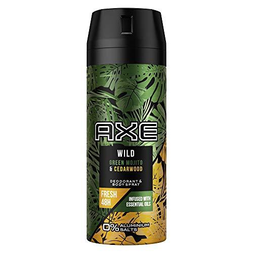 Axe Wild Bodyspray, für einen langanhaltenden Duft Green Mojito und Cedarwood ohne Aluminiumsalze, 1 Stück (1 x 150 ml)