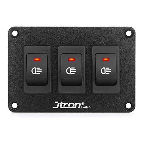 Jtron wippschalter panel 12V 2 polig 2P SPST an-aus Schalter für Nebelscheinwerfer wippschalter wechselschalter kfz für Auto Boot (12V 30A/3-Rot)