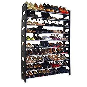 OWACLIQ Shoe Tower Rack 10 Tier 50 Pair Free Standing Shoe Rack Organizer Shoes Storage Organizer Shelf Space-Saving Shoes Closet Organizer