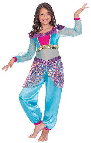 Das Kostümland Disfraz de princesa del desierto árabe Jamira para niña, azul claro, 1001 noche, disfraz de cuento de hadas 104-110. 104 cm