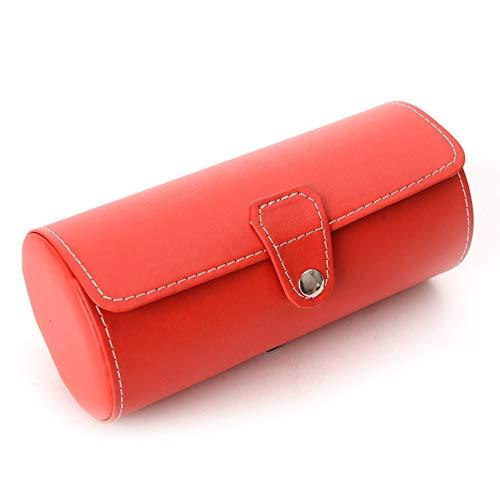 Yzyamz Uhrenbox Tragbare Glasabdeckung Multifunktions-4-PU-Leder 3-Positionen-Zylinder Uhrenring-Box Uhrenarmband Aufbewahrungstasche Tragbare Handgepäcktasche