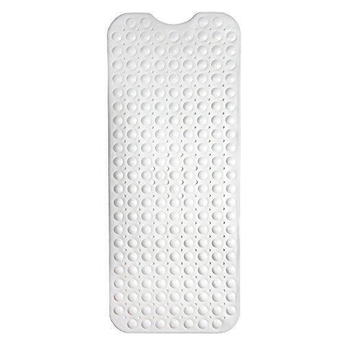 HaftPlus - Badewannenmatte, schimmelresistente Antirutschmatte Badewanne, Extra Lang [100 x 40 cm] rutschfeste Badewanneneinlage für Kinder und Erwachsene in weiß