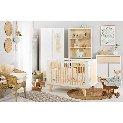Cuna dormitorio completo 60x120 - cómoda - armario 2 puertas LittleSky de Klups Lydia - Blanco