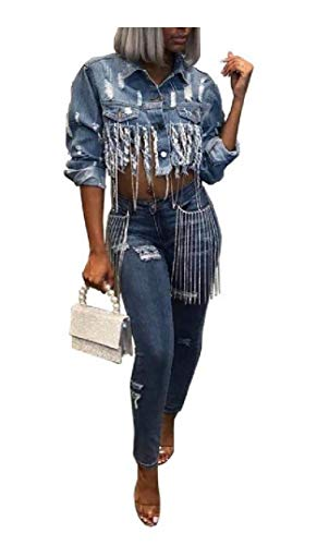 Women's Short Mini Sexy Stylish Fringe Blouse Denim Denim Jacket