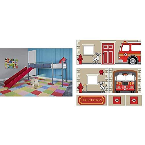 DHP Junior Twin Metal Loft Bed with Slide, Multifunctional Design, Silver with Red Slide & Fire Department Design Curtain Set for Junior Loft Bed, Kids Furniture, Blue