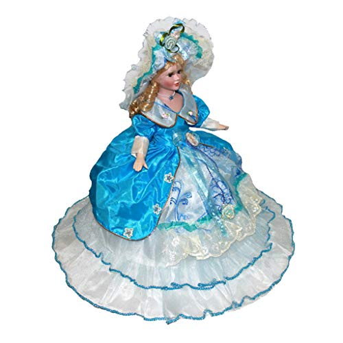 Toygogo Handgemachte Porzellanpuppe Mit Ständer, 45 cm Keramik Viktorianische Lady Figur, Kinder Geschenk Teens Sammlerstück, 7 Farben Für Wählen - Style1, 14x9x45cm