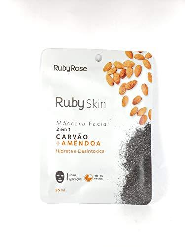 Máscara Facial De Tecido Skin Ruby Rose CARVÃO + AMÊNDOA HB-706
