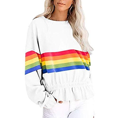 ZHANSANFM Damen Sweatshirt Rainbow Kontrastfarbe Pullover Langarm Ruffled Sweater Frauen Rundhals Weiche Langarmshirt Herbst Locker Sport Freizeit Oberteil Top Mode Elegant (M, Weiß)