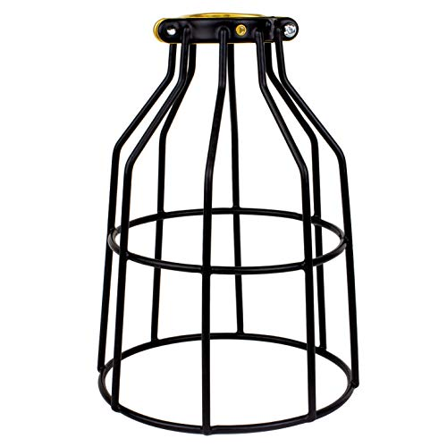 Newhouse Lighting WLG1B Ca Metal Guard for Ceiling Fan, Pendant String Light and Vintage Lamp Shades/Cover, Industrial Wire Fixture Iron Bird Cage, 1 Pack, Black