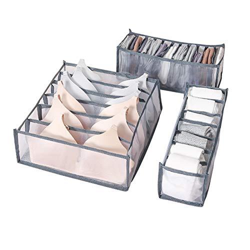 AOMIAO Unterwäsche Schubladen Organizer, 3 Stück Aufbewahrungsbox Schubfächer Trennfächer für Socken, Krawatten, Unterwäsche und andere kleine Zubehörteile