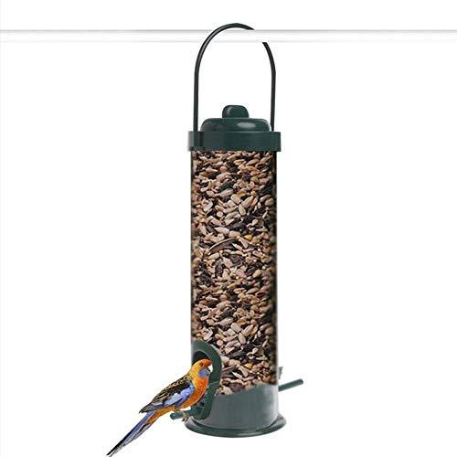 AYRSJCL Colgando al Aire Libre plástico Cubo pájaro del Animal doméstico alimentador Barril de plástico de Tinta Verde de plástico al Aire Libre Accesorios Alimentador