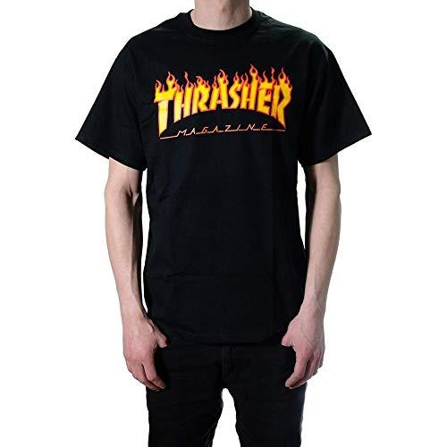 Thrasher, t-shirt, logo con fiamme nero Small