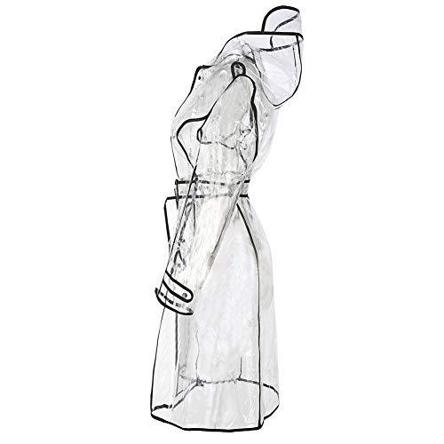 YCX Transparenter Gürtel Koreanischer Mode-Regenmantel Siamesischer Koreanischer Süßer Windbreaker-Poncho Für Erwachsene Im Freien,Clear