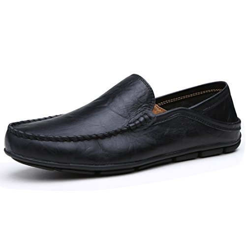 Go Tour Men's Premium Genuine Leather Casual Slip On Loafers Breathable Driving Shoes Fashion Slipper Black 43