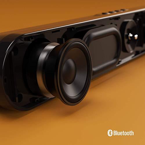 Majority Atlas - Mini Barre de Son Bluetooth Portable, idéale pour Jeux vidéo, PC, Ordinateurs Portables, écrans, téléviseurs connectés, avec Prise Jack 3,5 mm, Port USB et Carte Micro SD