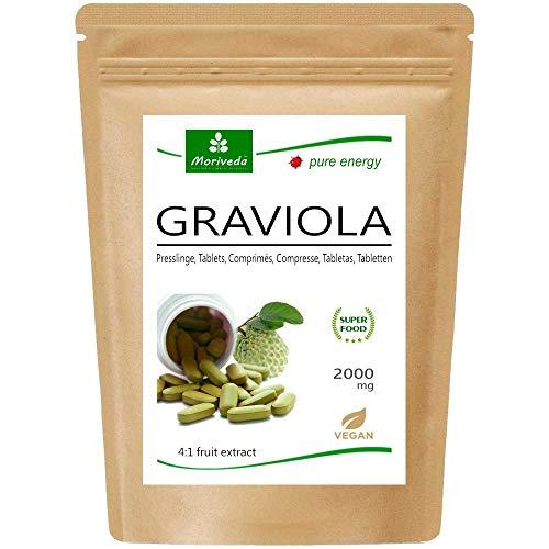 MoriVeda® - Graviola Presslinge 120 x 2000mg Frucht Extrakt 4:1 Vegan, Qualitätsprodukt – Sauersack (1x120 Tabs)