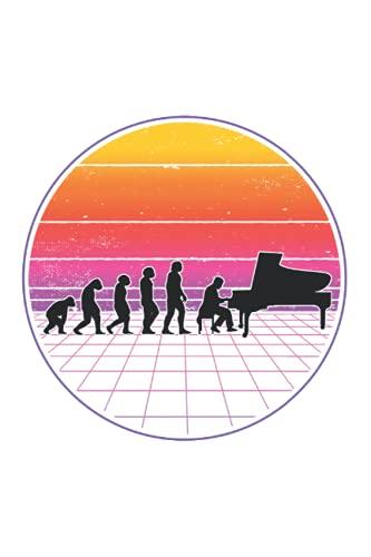 Piano Notizbuch: Piano Evolution Vaporwave Klavier Pianist / 6x9 Zoll / 120 karierte Seiten Seiten