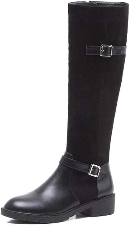 Mamrar Knie High Stiefel Knight Stiefel Frauen Fashion Round Toe 4Cm Chunkly Heel Gürtelschnalle Splice Stovepipe Stretchstiefel Dress Stiefel EU Gre 34-40