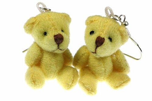 Miniblings Teddy Ohrringe Teddyohrringe Bär Teddybär beweglich Plüsch gelb - Handmade Modeschmuck I Ohrhänger Ohrschmuck versilbert