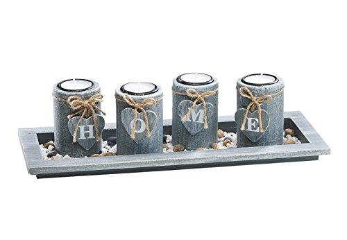 Kobolo Teelichthalter Home für 4 Teelichter in modernem Grau