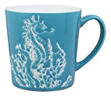 Ebros Nautical Ocean Marine Seahorse Drinking Beverage Blue Stoneware Ceramic Mug 16oz Drink Coffee Cup Sea Themed Glazed Earthenware Kitchen And Dining Mugs Accessory Coastal Sea Horses Decor