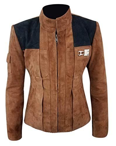 e Genius - Chaqueta de piel de ante para mujer, chaqueta de cuero marrón, chaqueta de cuero para mujer