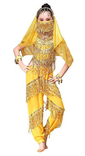 Happy Cherry Mädchen Bauchtanz Köstüm Indianisch Halloween Karneval Kostüme Tanzkostüme 6 Stücke Anzug Ägypten Outfits-Gelb-XL