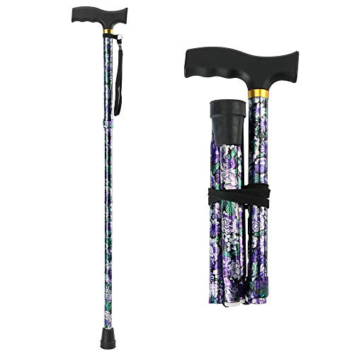 LIXIANG Folding Cane, 5-Level Foldable Walking Cane for Men Women Lightweight Adjustable Portable Hand Walking Stick - Balancing Mobility Aid - Sleek Comfortable T Handles (APurple Floral Printing)
