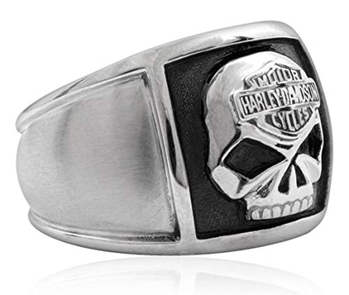 HARLEY-DAVIDSON MOD Steel Skull Cigar Band Ring, 10 = 20mm Ø