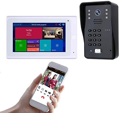 Sistema intercomunicación con videoportero inalámbrico - Kit timbre con monitor LCD 7 'con IP 65 impermeable y cámara visión nocturna, contraseña / desbloqueo reconocimiento facial, para apartamento