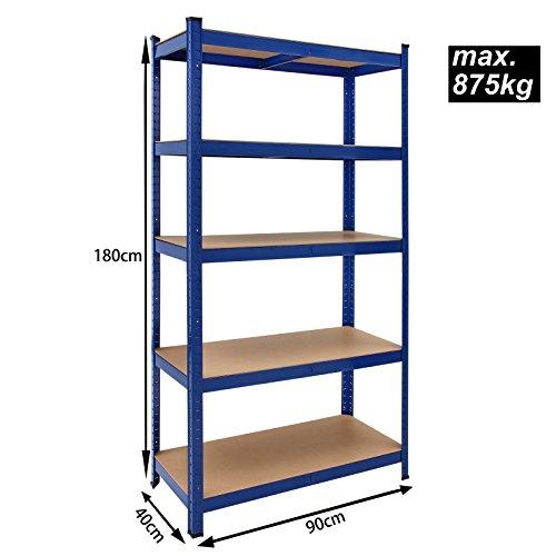 2x Deuba Schwerlastregal 180x90x40cm 875kg blau 5 MDF-Platten Lagerregal Kellerregal Steckregal Werkstattregal