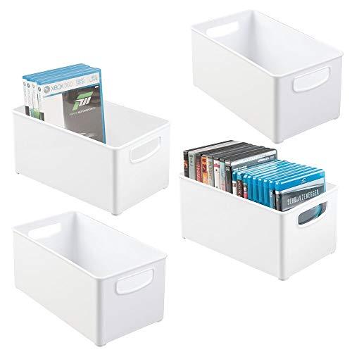 mDesign Juego de 4 cajas organizadoras para DVD – Práctica caja de plástico con asas para guardar DVD, CD y videojuegos – Caja para DVD apilable – blanco