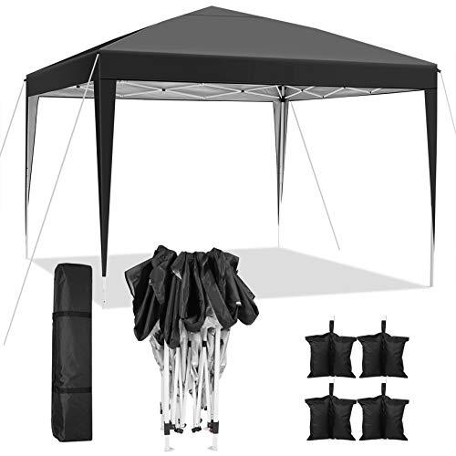 WeSkate 3x3 Meter Pavillon Zelt Faltbare Pop up Pavillon Wasserdicht mit 4 Sandsack und Handtasche Für Garten Markt Camping Hochzeiten Festival
