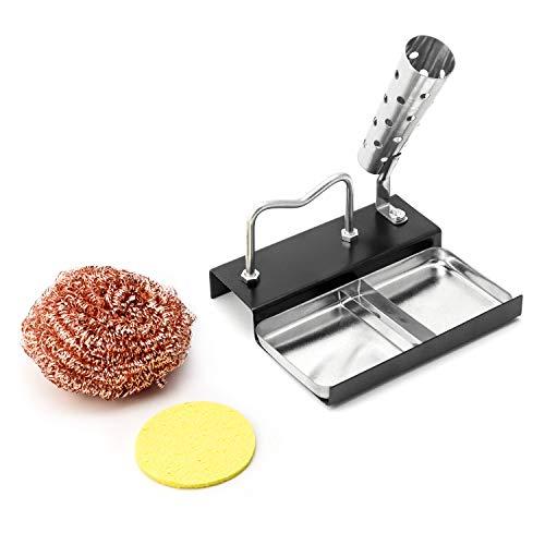 QWORK Soporte para soldadores, accesorios de asistencia para soldadura, kit de bricolaje (1 soporte para soldadura+1 esponja de limpieza + 1 bola de limpieza de punta de soldadura)