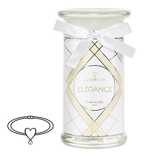JuwelKerze Schmuckkerze 'Elegance' große weiß Duftkerze mit echtem vergoldet Schmuck (Armband) - Kerze mit Schmucküberraschung als Geschenk für sie