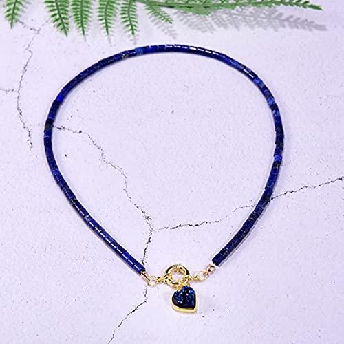 XIAOMAI Collar de Gargantilla con Colgante de corazón de lapislázuli de Piedra Natural para Mujer, joyería de Fiesta de latón Chapado en Oro para Mujer