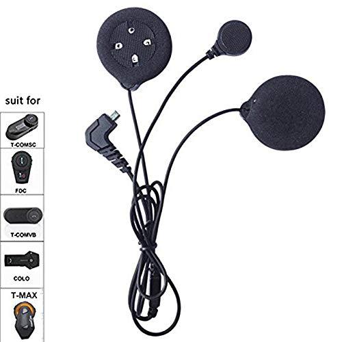 FreedConn Auricular con micrófono Adecuado para el intercomunicador de la Serie TMAX, T-COM, T-COMVB, Incluyendo Clip de intercomunicación,Auriculares de Alta definición con 4 Altavoces(Cable Suave)