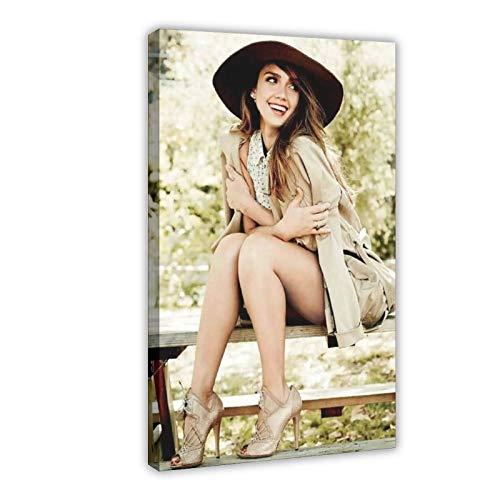 American Film And Television Attrice Jessica Alba 2 poster di tela di canapa decorazione della camera da letto di sport paesaggio ufficio arredamento regalo 60 × 90 cm Frame-style1