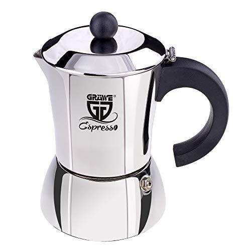 GRÄWE Espressokocher Induktion geeignet, Espressokanne aus Edelstahl für 6 Tassen, Klassischer Espresso Maker ohne Aluminium - 300 ml