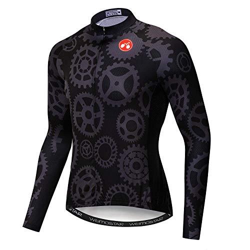 Maillot de ciclismo para hombre, transpirable, de manga larga, reflectante, top con...