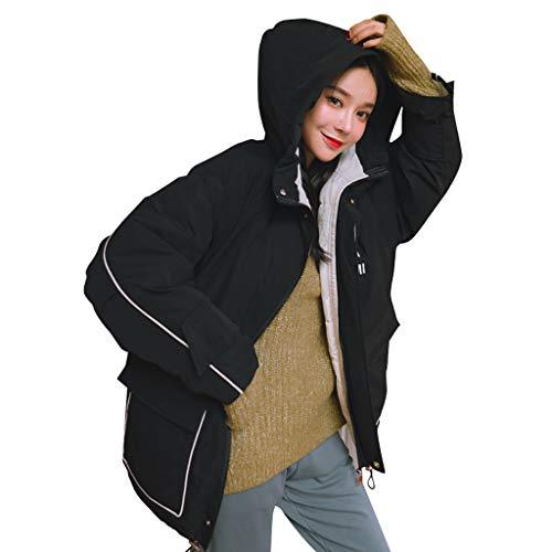 WooCo - Abrigo corto para mujer, otoño e invierno, para niñas, adolescentes, cálido, de algodón, chaqueta de invierno, abrigo de invierno, Negro , 36