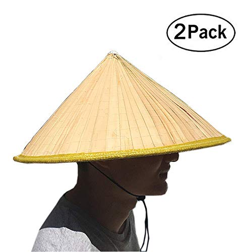 SUNNYHILL Pack of 2 Fish Hat Asian Vietnamese Large Straw Palm Leaf Sun Rice Farmer Hat Yellow
