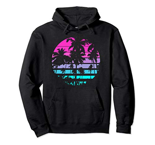 80s Miami Palms and Sunset Hoodie for Men or Women, 4 Colors, S to 2XL