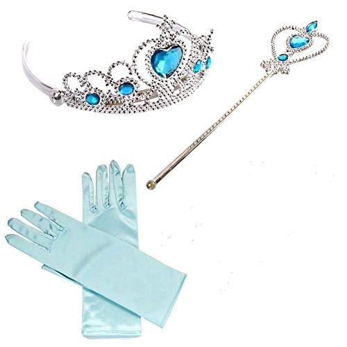 Brigamo ❄ ELSA Kostüm Zubehör, Eisprinzessin Verkleidung Fasching Set bestehend aus funkelndem Diadem, Handschuhe, Zauberstab ❄