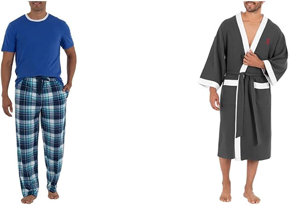 IZOD Men's Short Sleeve Jersey Knit Top and Lite Touch Fleece Pants Sleep Set, Bright Blue, Medium & Waffle Knit Kimono Robe, Charcoal Heather, One Size