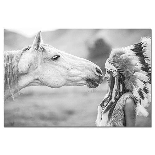 DIOPN Scandinavische stijl meisjes en paarden canvas geen lijst kunstdruk schilderij poster grappige wandschilderijen voor woonkamer decoratie digitaal schilderij (zonder lijst) 40 * 50,50 * 60 cm) 40*50 cm