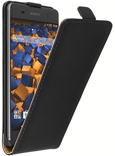 mumbi Echt Leder Flip Case kompatibel mit Sony Xperia XA Hülle Leder Tasche Case Wallet, schwarz